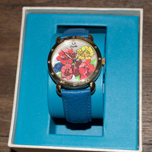 Bertha Floral Gold and Blue Watch NEW